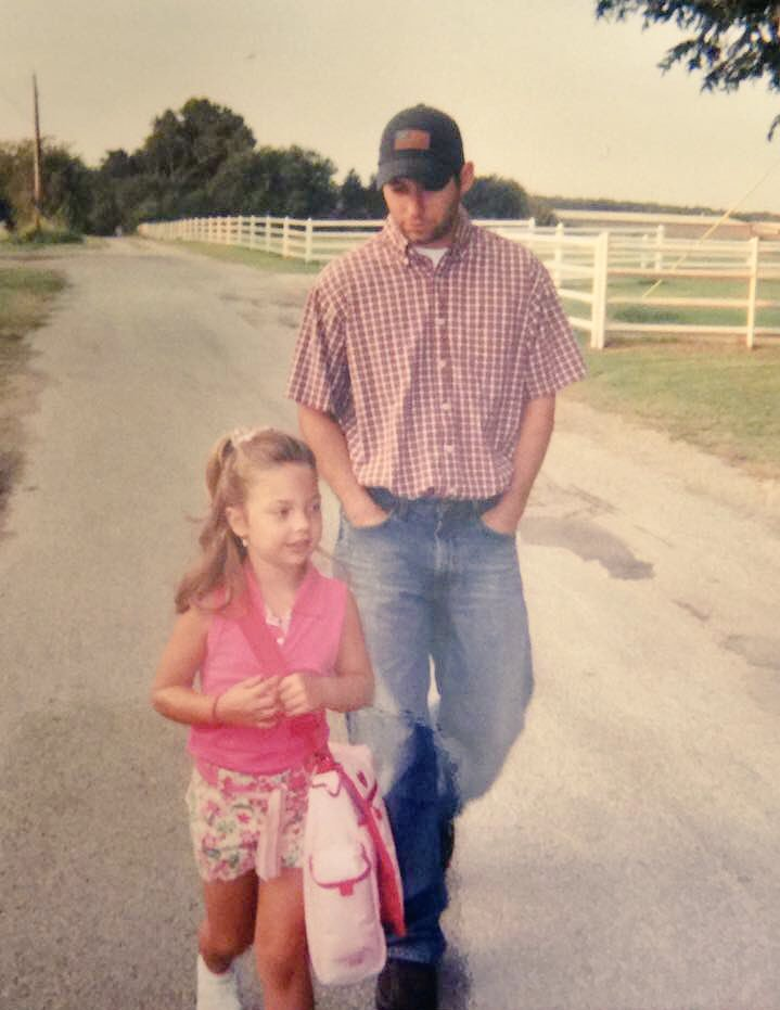 Dad and Girl Walk To School